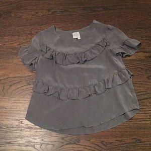 100% Silk Anthropologie Grey Ruffled Blouse